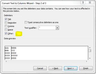 Excel Text to coloum